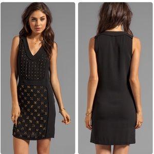 DVF Twiggy Hot Fix Check Dress in Black